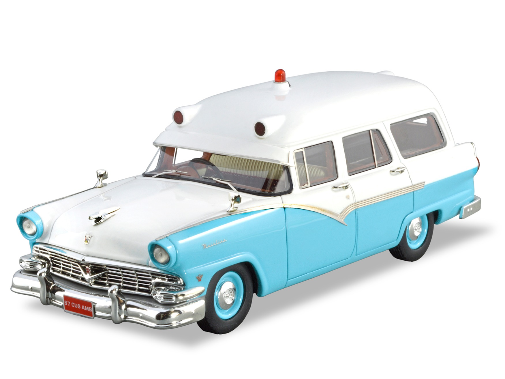 1957 Ford Mainline AMB – Blue + White