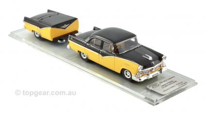 TSS22S 1957 Ford Customline – Yellow/Black With Trailer
