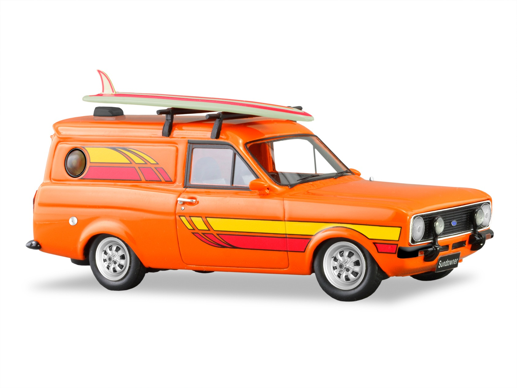 1978 Ford Escort Sundowner Panel Van – Raw Orange With Surfboard